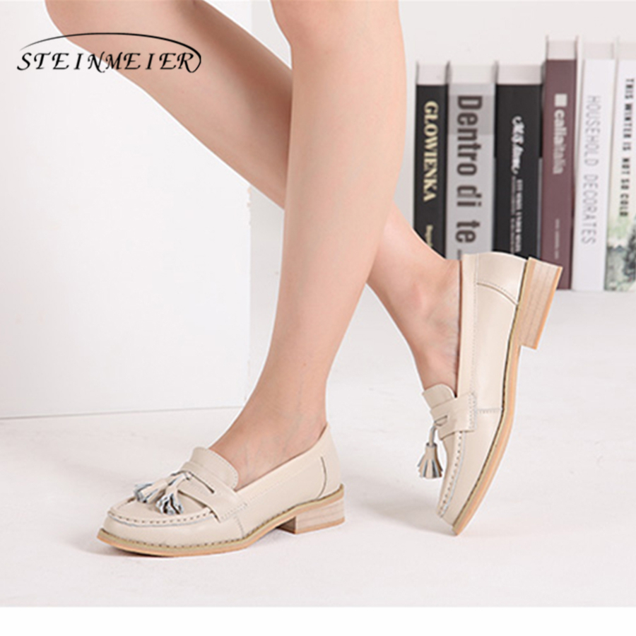 Genuine cow leather brogues ladies flats shoes handmade vintage casual oxford shoes for women 2018 spring