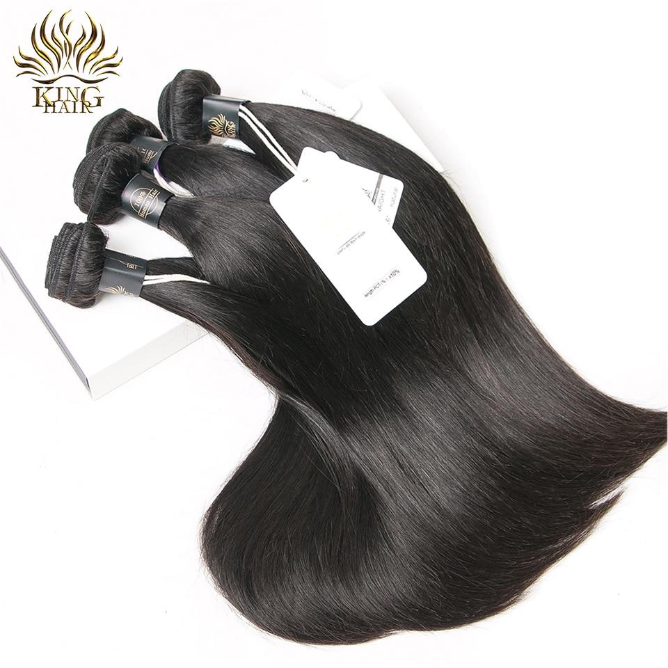 Rei Em Linha Reta cabelo humano 100% Feixes de Tecer Cabelo Malaio - Cabelo humano (preto)