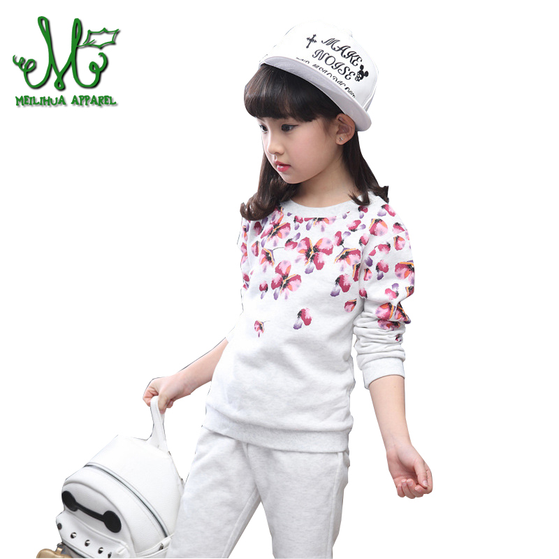 Girls Tracksuits Costume 100% Cotton Spring &Autumn Sportswear Outfits Girls Sports Suits Clothing Sets For 6 8 10 12 14 Years children clothing sets for girls sports suits cotton letter hoodies & shorts 2pcs kids boys outfits summer tracksuits 6 8 10year