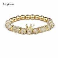 2018 marca de moda Imperial brazalete con abalorio con forma de corona 8MM Micro pavimento CZ redondo cuenta mujeres hombres cobre joyería Pulseras Mujer Bileklik