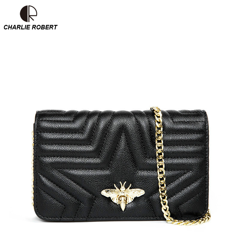 2019 New High Quality Genuine Leather Elegent Luxury Design Metal Bee Insect Shoulder Bag Summer Fashion Style Crossbody Bags in Shoulder Bags from Luggage Bags