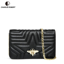 2019 New High Quality Genuine Leather Elegent Luxury Design Metal Bee Insect Shoulder Bag Summer Fashion Style Crossbody Bags
