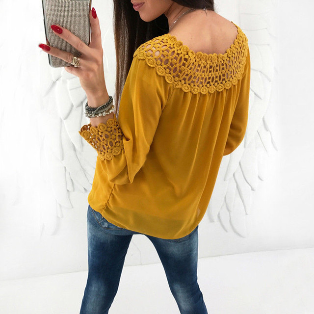 fc046f7ed48 Ladies Summer Long Sleeve Chiffon Shirts Lace Floral Pleated Blouses Casual  Blouse Off Shoulder Female Sexy Shirt