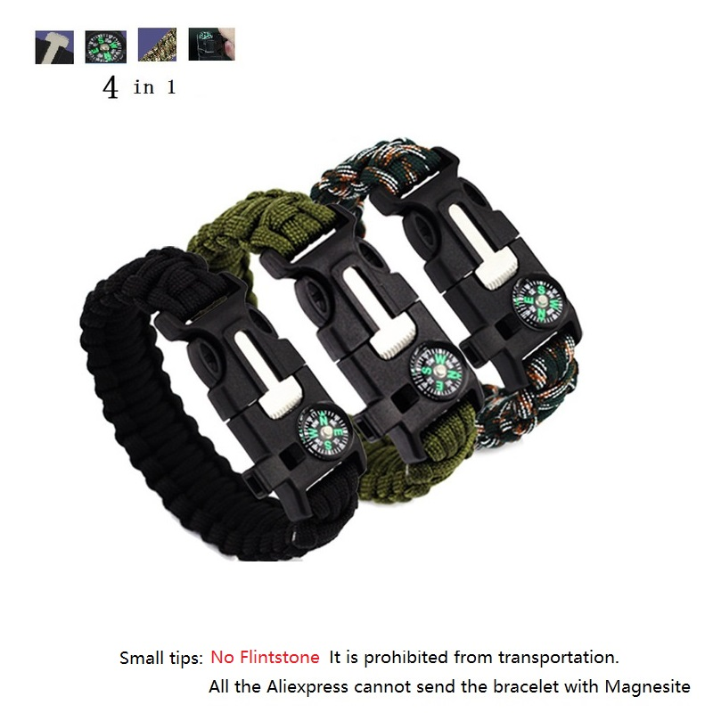 4in 1 Emergency Survival Bracelet Compass Paracord Bracelets Men Women Outdoor Rescue Parachute Cord NO Flintstones