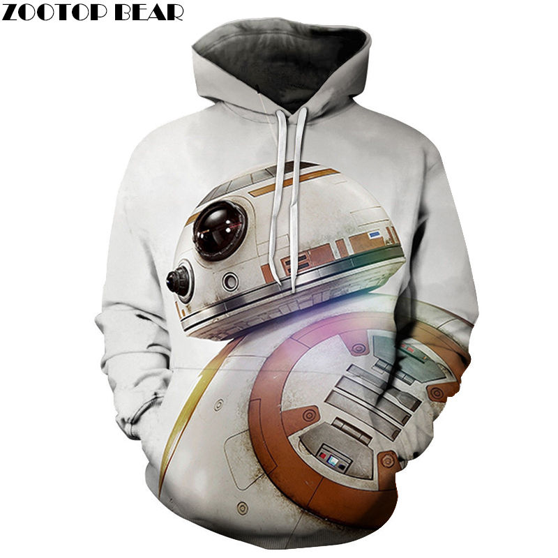 Cute robot Sweatshirts Tops Men's Hoodies Long Sleeve Spring Star Wars Cotton Casual Tracksuits 3D Print Drop Ship ZOOTOP BEAR