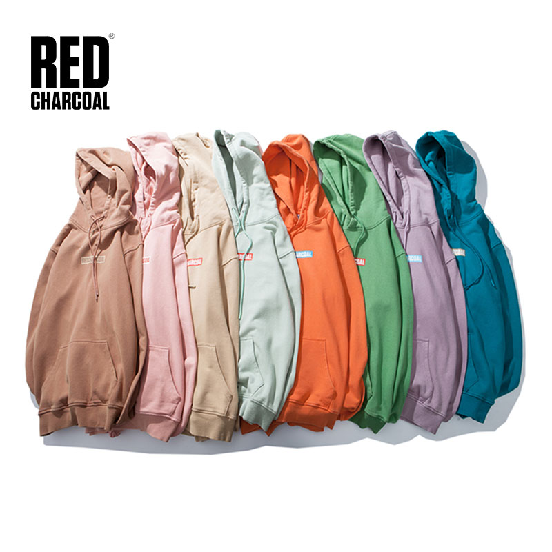 Red Chaorcoal Chest Boxed Pocket Hoodie Sweatshirt 2018