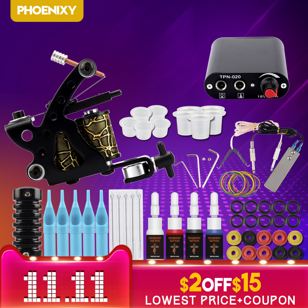 все цены на Starter Tattoo Kit 8 Wrap Coils Tattoo Gun Machines 4Pcs/Set Ink Grips Needles Tips Power Supply Beginner Tatu Tattoo Supplies