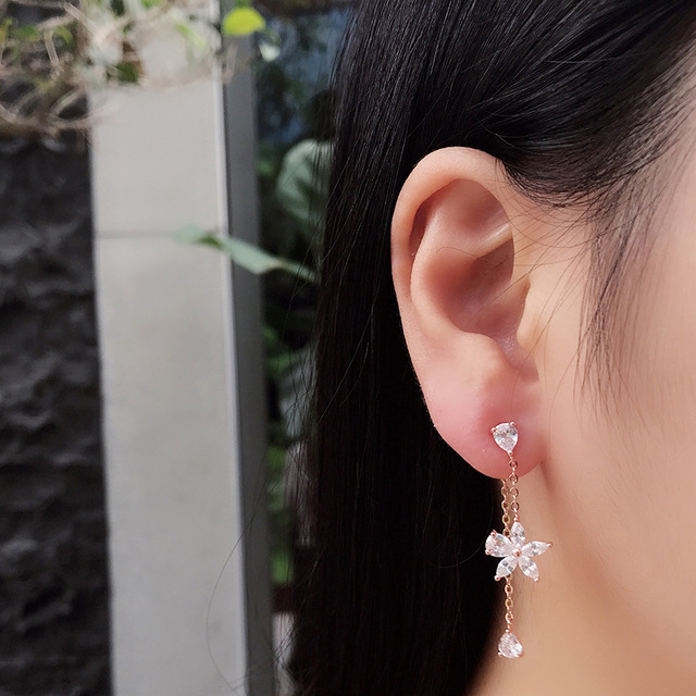 Long Line Zircon Flower Petal Drop Earrings