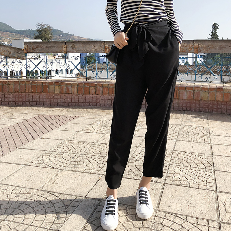 Mishow Female Solid Pants 2018 New Collection Autumn Outfit Loose Straight High Waist Casual Harem Pants MX18C2532