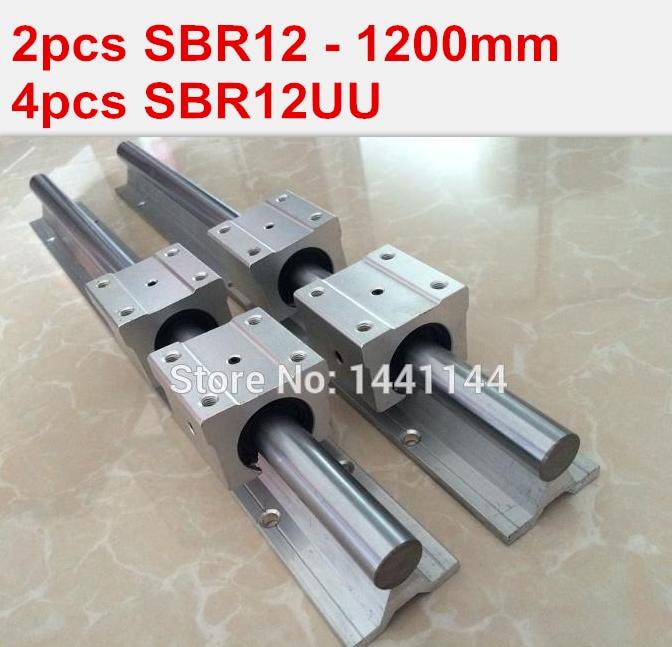 SBR12 linear guide rail: 2pcs SBR12 - 1200mm linear guide + 4pcs SBR12UU block for cnc parts hiwin cnc guide rails 2pcs hgr35 linear rail 1200mm 4pcs hgw35cc hgw35ca cnc linear guide rail block