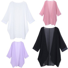 2019 European And American Summer New Kimono-style Solid Color Cardigan Sunscreen Chiffon Shirt