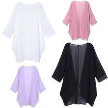 2019 European And American Summer New Kimono-style Solid Color Cardigan Sunscreen Chiffon Shirt spring and summer new style european and american loose chiffon shirt slash neck striped chiffon top