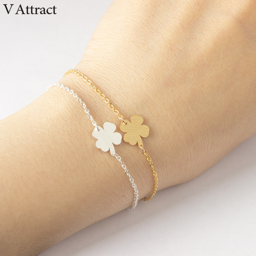 V Attract BFF Jewelry Boho Luck Gold Silver Ketting Four Leaf Clover Charm Bracelet Femme Women Stainless Steel Chain Pulseira