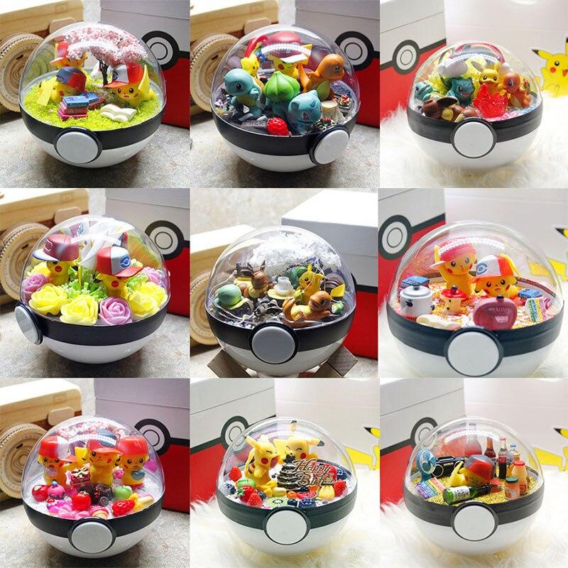 PokeBall Monster Pet Pokebolas Pikachu Eevee Bulbasaur Charizard Squirtle DIY LED Action Figure Birthday Christmas Toys For Gift