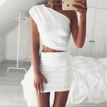 Elegant ladies white bodycon dress one shoulder solid sexy 2 piece chic short dress femme vestidos