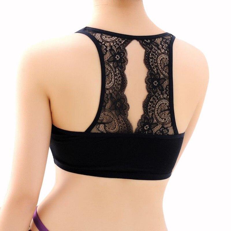 Sexy ženy bavlněné duté zadní bílé tričko trubice horní polstrovaná podprsenka zábal hrudník podprsenka oříznuté oblečení