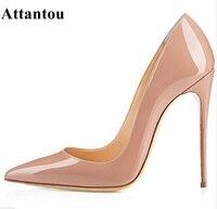 ماركة الأحذية عالية الكعب أشار تو مضخات النساء أحذية امرأة 12 سنتيمتر أحذية عالية الكعب الزفاف مضخات أسود عاري أحذية كبيرة الحجم 42