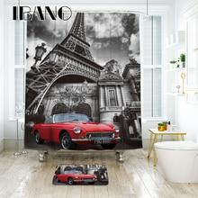 IBANO Eiffel Paris City Scenery Shower Curtain Waterproof Polyester Fabric Bath For The Bathroom Decoration