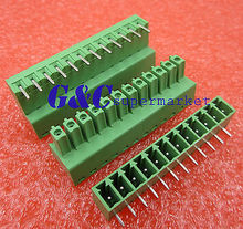 цена на 1 pcs 3.81mm Angle 12 pin Screw Terminal Block Connector Green Pluggable Type