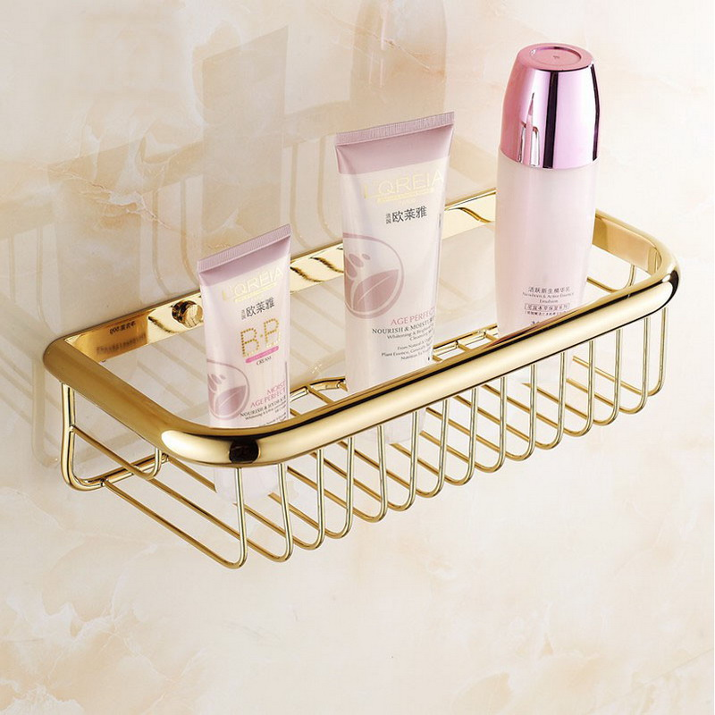 30cm Gold Brass Bathroom Shower Basket Storage Wall mount Soap / Sponge Shelf Shampoo Holder