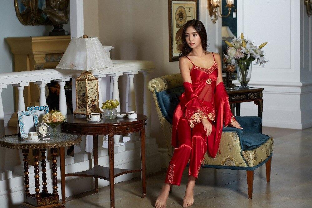 XIFENNI Brand Women Satin Silk Pajamas Red Three Piece Pyjama Sets Lace  Embroidery Imitation Silk Pijamas Femininos 1535-in Pajama Sets from  Underwear ... 560ca2012