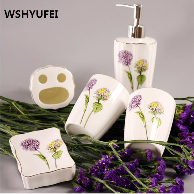 luxury lavenderToilet ceramic bathroom accessary set Liquid bottle cups Toothbrush holder Soap dispenser bathroom decoration