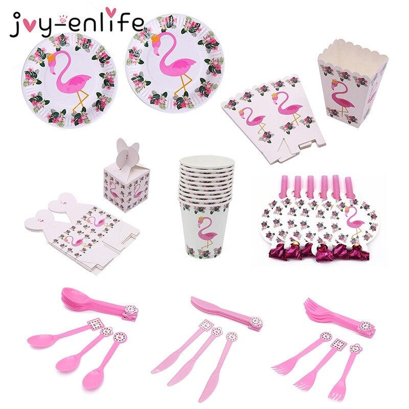 JOY-ENLIFE פלמינגו המפלגה שולחן חד פעמי נייר כוסות צלחות חתונה יום הולדת קישוט תינוק מקלחת פסטיבל אספקת אירוע