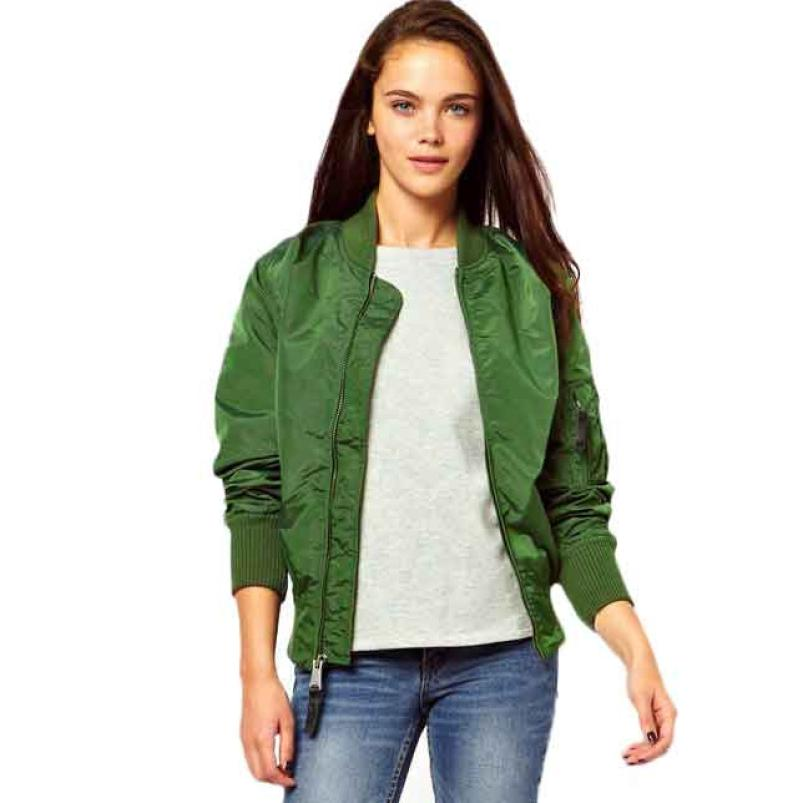 snowshine YLI Women Stand Collar Long Sleeve Zipper Short Coat Bomber Coat