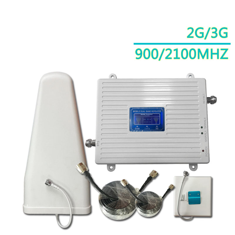 3G 2G 900 2100 Mhz Dual Band Cell Phone Cellular Signal Repeater Amplifier GSM Wcdma Mobile Phone Signal Booster
