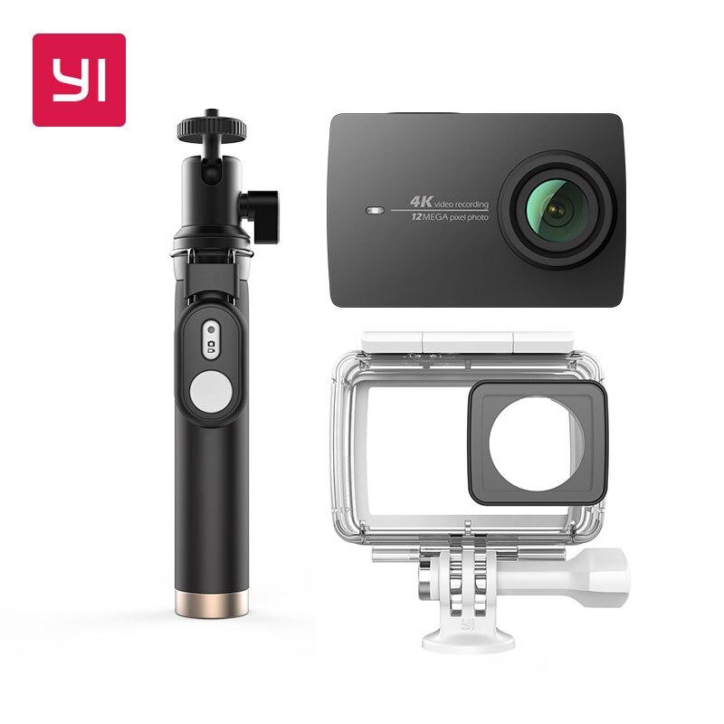 YI 4 К экшн-камеры (Bundle) с водонепроницаемый корпус и селфи рукоять 2,19 ЖК-экран жестко Wi-Fi International версия спортивные камеры