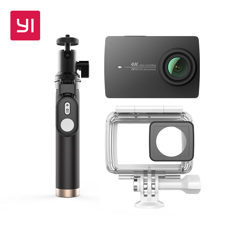 YI 4K Action Camera Bundle With Waterproof case and Selife Stick 2.19 LCD Tough Screen Wifi International Version Sports Camera