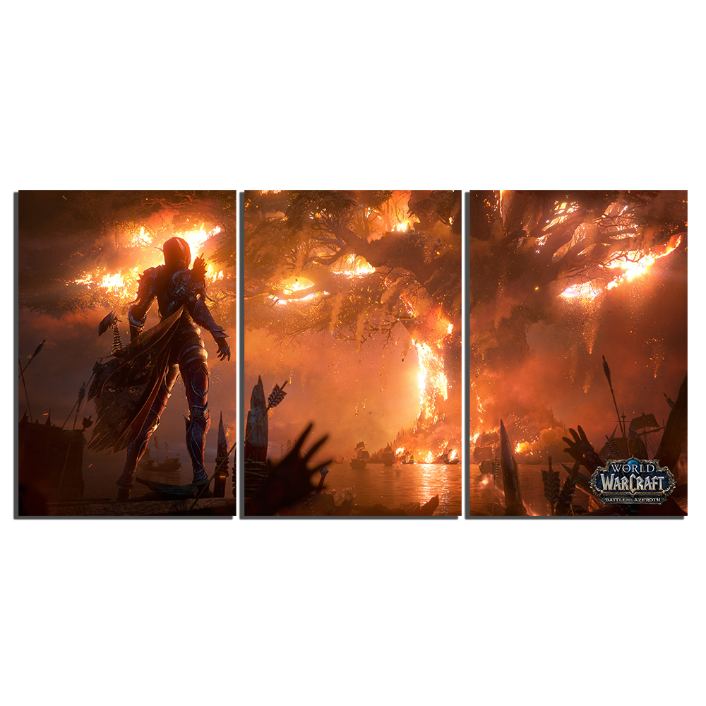 World of Warcraft Canvas Painting Sylvanas Fire Burning Teldrassil Game Poster Print Fan Art Wall Decor Playroom Picture 3
