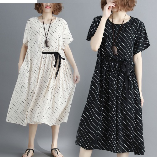 87c96292fa Summer New Plus Size Loose Stripe Women Dress Midi Short Sleeve Artistic  Swing Mori Girl Cotton