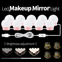 Makeup Vanity Mirror Light Strip Led Lamp Tape Dimmable Bathroom Light Bulbs Kit Hollywood Dressing Table Mirror Lamp Led Bulb 14 vanity led light bulbs kit cool white hollywood lamp with dimmer power supply sticky tape for dressing table makeup mirror