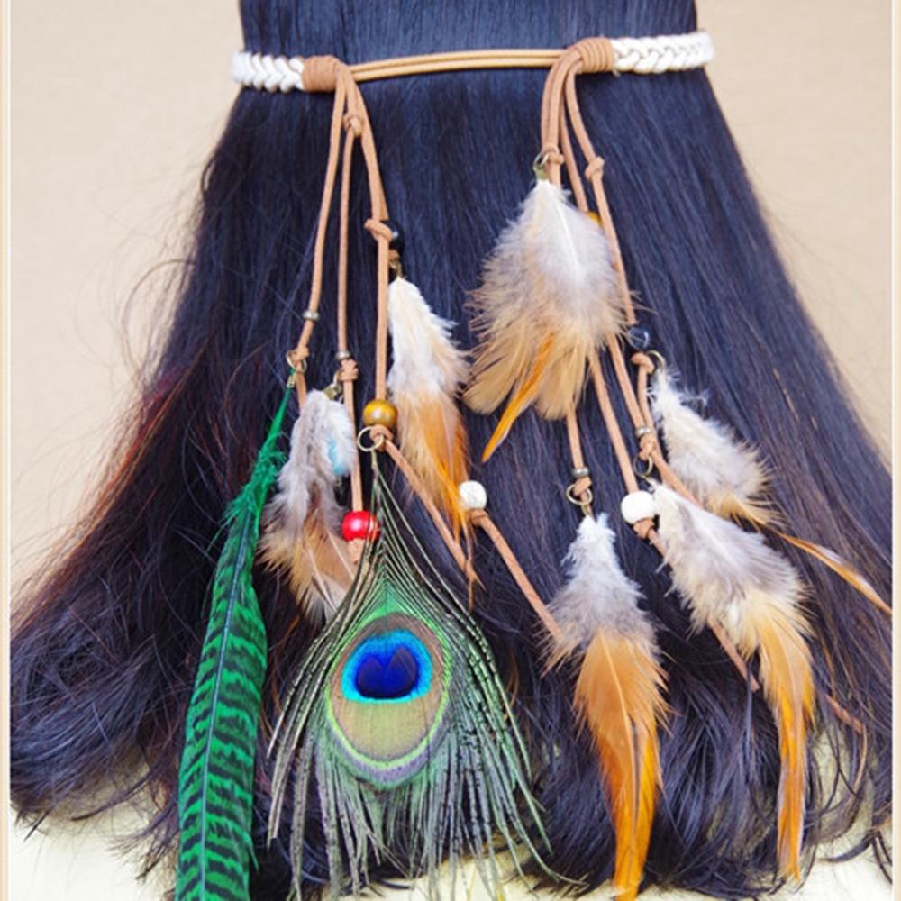 New Arrival Festival Bohemian Headband Feather Headdress Fashion Indian Peacock Feather Headbands Hair Accessories