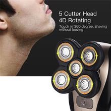 5 In 1 Elektrische Rasierer Männer Wiederaufladbare Bart Nase Haar Trimmer Clipper Waschbar Glatze Rasieren Maschine Gesicht Cleaing Pinsel
