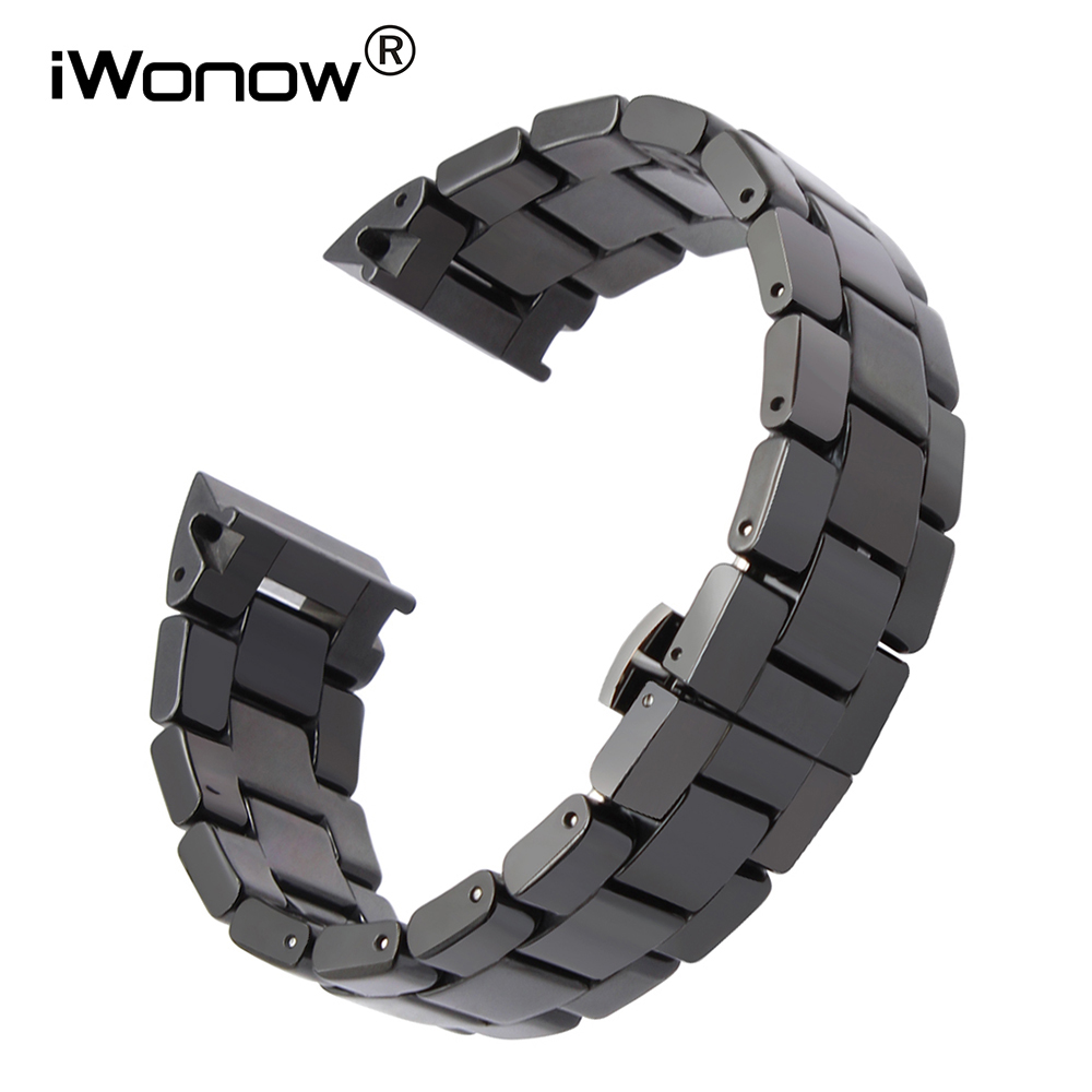 Ceramic Watchband 18mm 22mm +Tool for AR1406 AR1407 Square Watches Wrist Band Steel Butterfly Buckle Strap Watch Bracelet Black