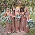 Rose Gold Bridesmaid Dresses Long Sequins Robe De Demoiselles D Honneur Pour Mariage 2017 High Quality Wedding Party Dresses