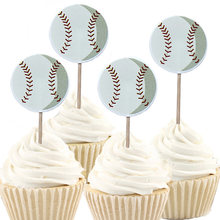 24/48pcs Boys Baseball Football Theme Cake Topper Happy Birthday Party Soccer Cupcake Toppers With Sticks Decorate Baby Shower(China)