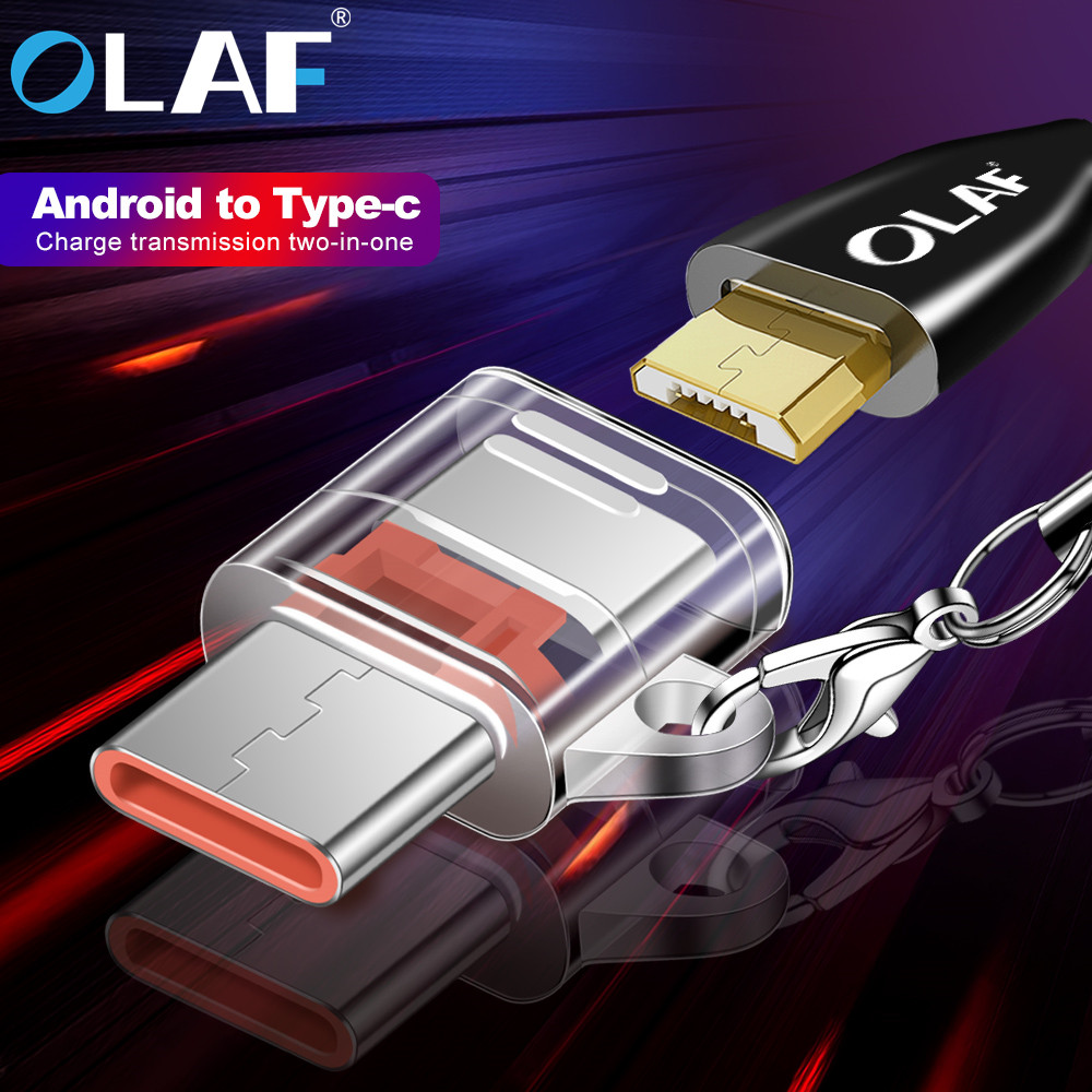 OLAF Transparent Android Micro USB To Type-C Adapter Type C OTG Adapter Micro USB Female To USB C Male Converter Data Transfer
