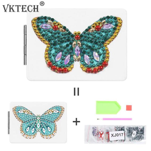Butterfly/Heart DIY Special Shaped Diamond Painting Mirror Women Girl Ultra-thin Mini Makeup Mirror Embroidery Cross Stitch Kit 6