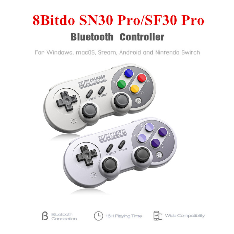 8 Bitdo SF30 Pro/SN30 Pro Bluetooth Gamepad controlador de juego inalámbrico con Joystick para Windows Android