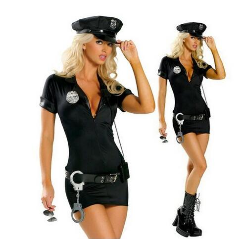 Ensemble complet Adulte Sexy Cop Costume police de la Circulation Uniforme Halloween Policières Cosplay Fantaisie Robe S M L XL XXL