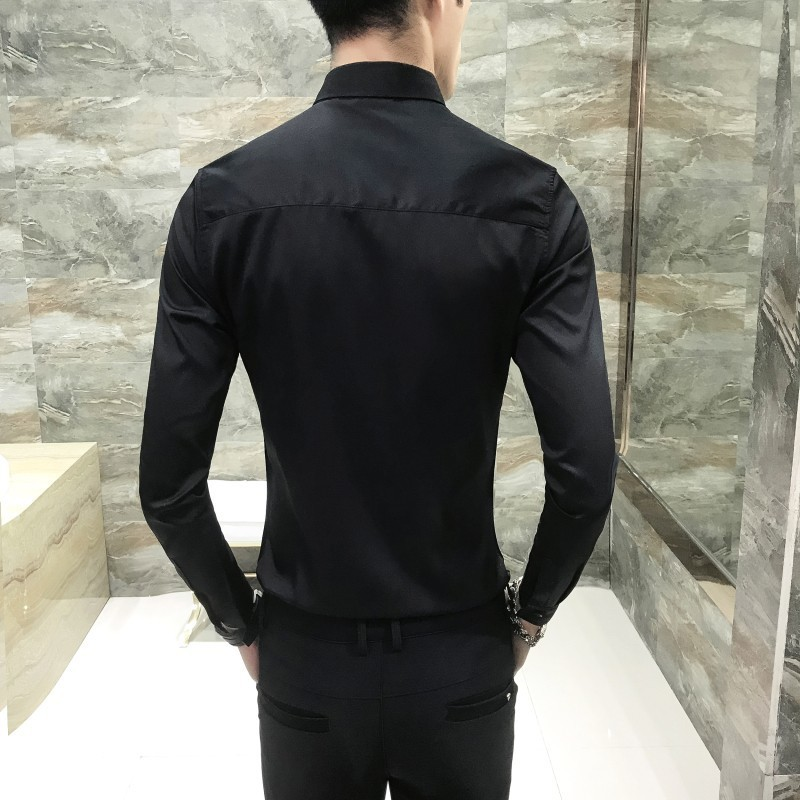 Broderie col chemise aveugle Placket hommes chemise à manches longues Slim Fit mode coréenne robe chemise hommes Camisa mode Masculina - 2