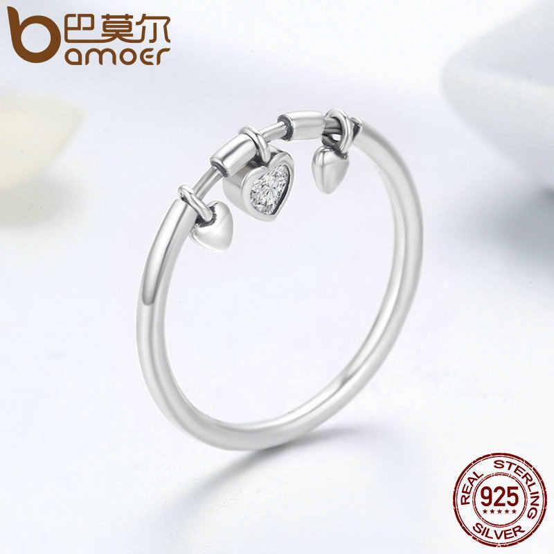 BAMOER 925 ayar gümüş pırıltılı kalp temizle CZ Anel kadın yüzük kadınlar düğün nişan takı SCR215