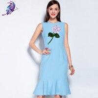Runway Dress 2017 Spring Summer Brand Designer Women S High Quality Appliques Sky Blue Sleeveless Mermaide