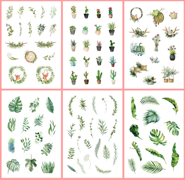 6 pcs/pack Fresh Green Planting Bullet Journal Decorative Stickers Scrapbooking Stick Label Diary Stationery Album Stickers6 pcs/pack Fresh Green Planting Bullet Journal Decorative Stickers Scrapbooking Stick Label Diary Stationery Album Stickers