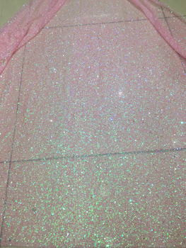 5 yards bzh0014 pink dot dobby glued sparkle glitter mesh net tulle lace fabric for  sawing /evening dress