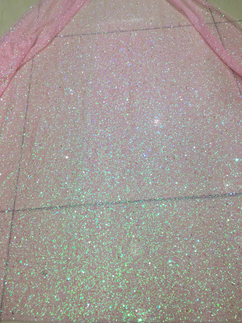 5 yards bzh0014 pink dot dobby glued sparkle glitter mesh net tulle lace  fabric for sawing  evening dress 25591440eedb