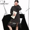 [Soonyour] 2017 primavera rayas verticales solapa ladie dress tridimensional hilo de costura de las nuevas mujeres de ropa al por mayor 4l0051